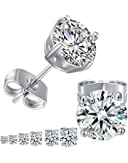 18K White Gold Plated 4 Pong Round Clear Cubic Zirconia Stud Earring Pack of 6 Pairs (6 Pairs)