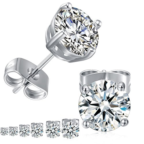 GEMSME 18K White Gold Plated Round Cubic Zirconia Stud Earrings Pack of 6 ()