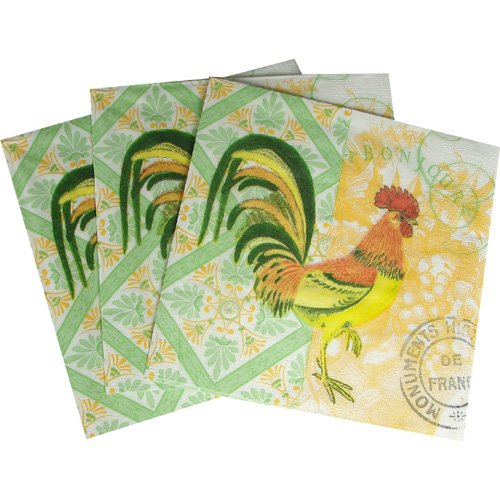Bonjour Rooster Disposable Luncheon or Beverage Napkins, 1Luncheon