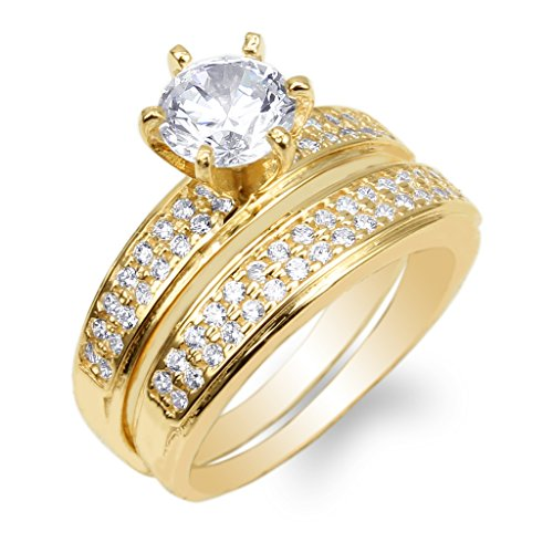 JamesJenny 10K Yellow Gold 1.0ct Clear CZ Fancy Engagement Solitaire Ring Duo Set Size 7