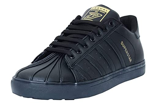 72558b0f8ed4 Black Tiger Shoes for Men s Superstar Synthetic Leather Casual Shoes ...