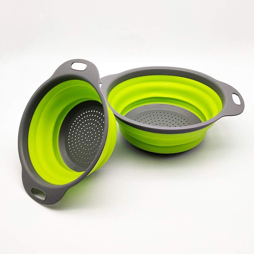 Collapsible Colander, Food-Grade Silicone kitchen Strainer Space-saving foldable filter colander for Vegetables, Fruits, Pasta Draining, 2 Set (Green)