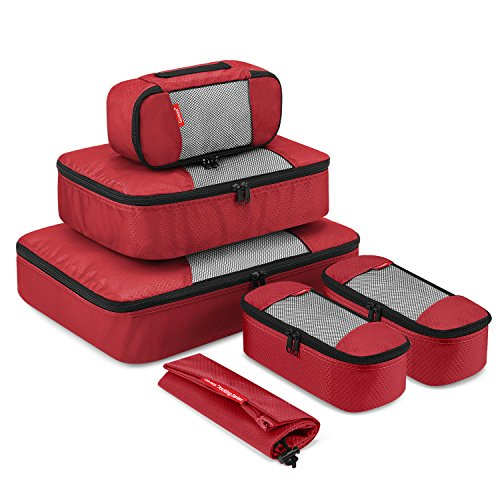 Day Trip Cable Sweater - Travel Packing Cubes, Gonex Luggage Organizers L+M+3XS+Laundry Bag Red