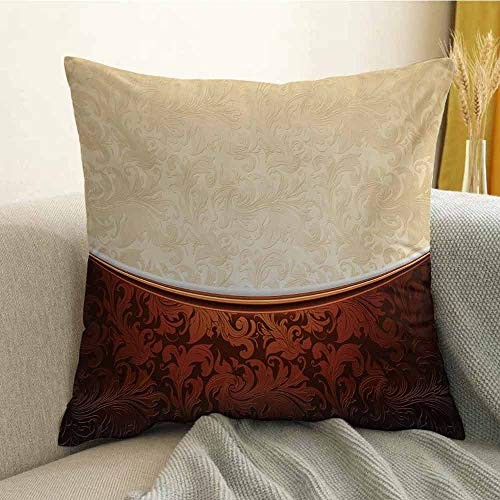 (FreeKite Chocolate Silky Pillowcase Victorian Motifs in Bicolor Baroque Inspired Antique Arrangement Ornate Design Super Soft and Luxurious Pillowcase W16 x L16 Inch Beige Brown)