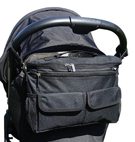 BTR Universal Kinderwagen- / Buggy-Organiser, schwarz, Wickeltasche, Hängetasche oder Babytasche, wasserfest als Einheitsgröße