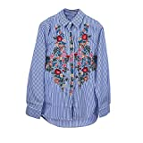 Women Shirt, Ladies Elegant Striped Long Sleeve V Neck Loose Blouse Casual T Shirt Tops (S, Blue)