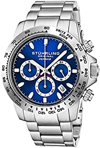 "Stuhrling Original Mens Sport Chronograph Watch - Stainless Steel Brushed Matte Bracelet, 891 Formula ""i"" Watches Collection (Blue)"