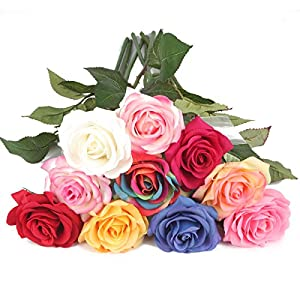 "Louis Garden Silk Rose 17"" Artificial Flowers As Natural 58"