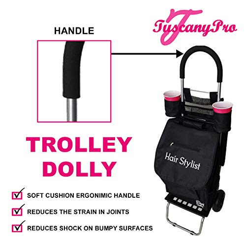 TuscanyPro Hairstylist Cart with Wheels - Unique Folding Trolley Dolly & A Hairstylist Bag - US Patented - 10 Years Warranty - Personalize with Name/Logo