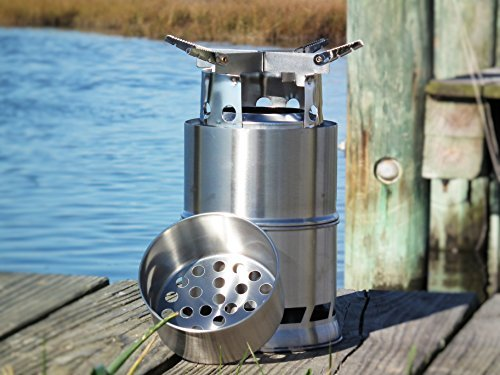 SoLoMan King Stove Largest folding wood burning stove light weight compact design for survival, camping, backpacking, emergency preparation with Solid Alcohol Tray