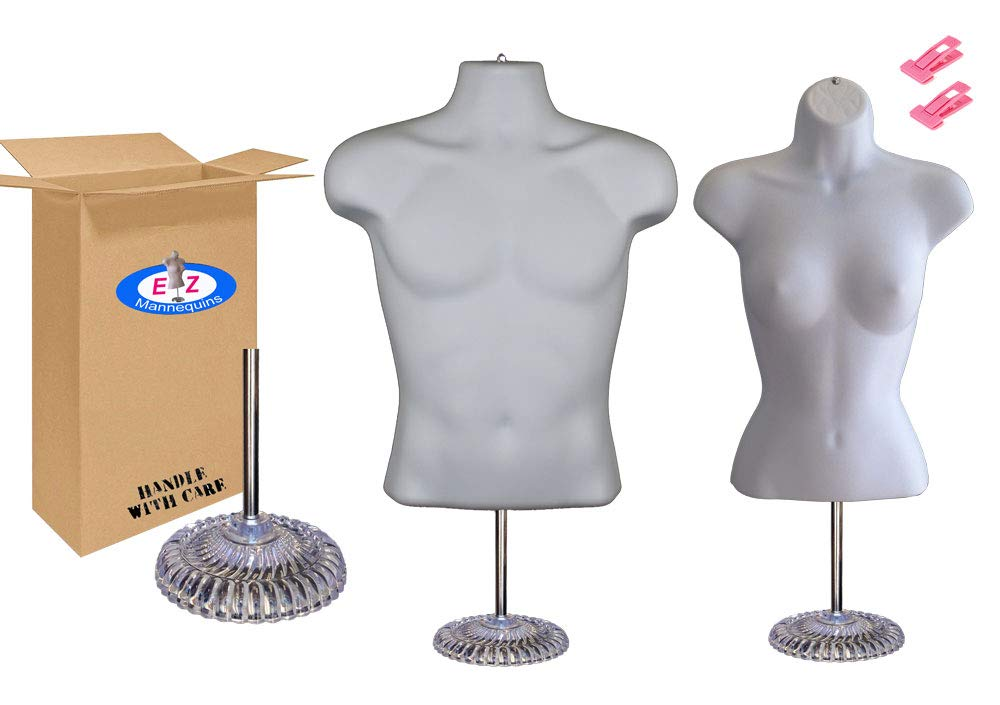 Male + Female Mannequin Torso Set, Dress Form Hollow Back Body Tshirt Display, w/Economic Plastic Stand for Counter by EZ-Mannequins, Temporal Photos or Design, Easy to Assemble and Store, S-M Sizes.