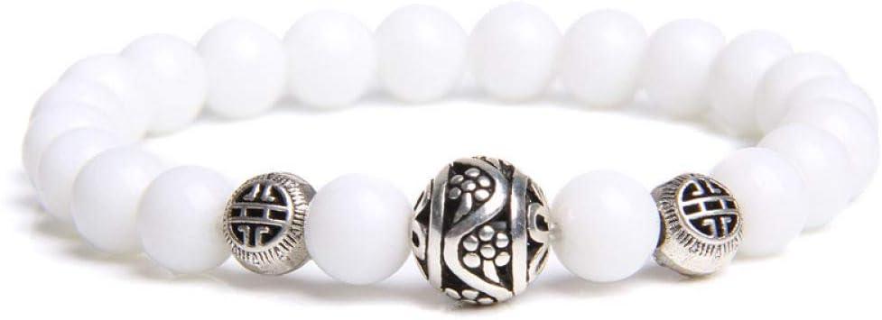 ZMMZYY Pulsera Piedra Blanca Simple,Piedra Natural Beads Bracelet Redondos Jades Bola de Plata Encanto Chakras Energía Yoga para Mujeres Regalos de joyería
