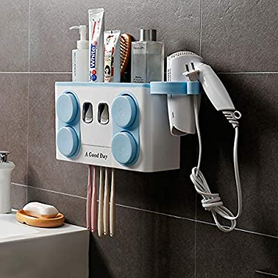 5 Dust-proof Toothbrush Holder with Cups Toothpaste Dispenser Shelf Wall Mount
