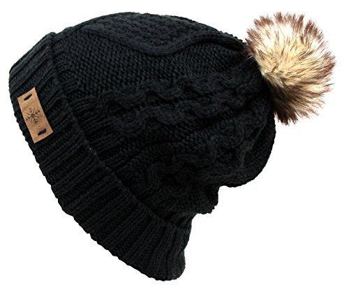 ANGELA & WILLIAM Womens Fur Pompom Fleece Lined Knitted Slouchy Beanie Hat (Black)