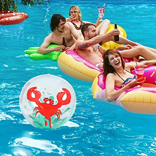 AMOR 3 Pieces 3D Beach Balls, 13 Inch Inflatable Beach Ball for Kids, Pool Toy Balls for Summer Beach Pool Party Favor Home Decoration