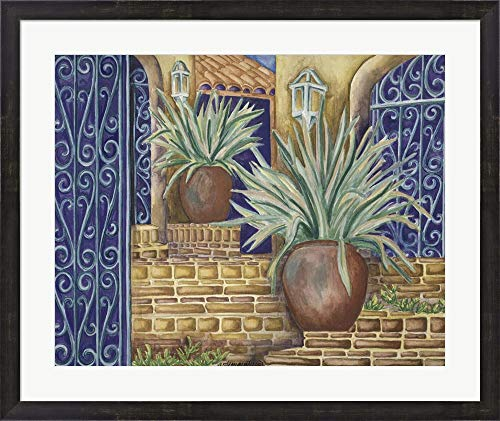 (California Pots Agave by Andrea Strongwater Framed Art Print Wall Picture, Espresso Brown Frame, 32 x 27 inches)