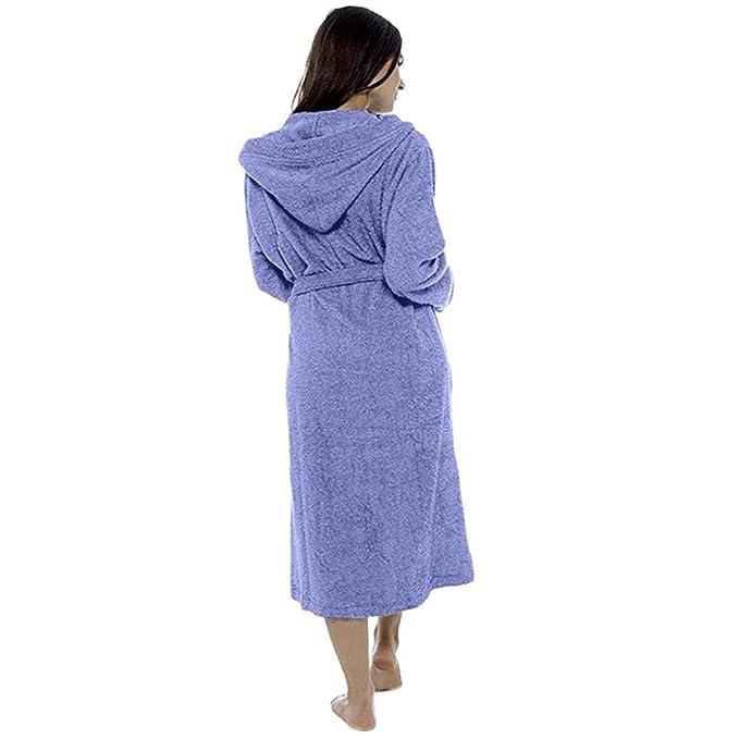 VJGOAL Mujer Invierno Tallas Grandes Casual Bata de baño con Capucha Felpa Albornoz Ropa para el hogar Bata de Noche Pijamas de Manga Larga Bata: Amazon.es: ...