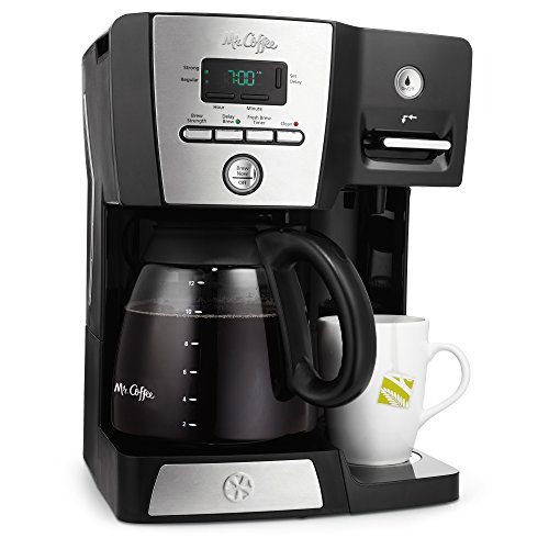 Integrated Water Dispenser (Mr. Coffee Versatile Brew 12-Cup Programmable Coffee Maker with 16 Oz. Hot Water Dispenser, Black/Chrome)