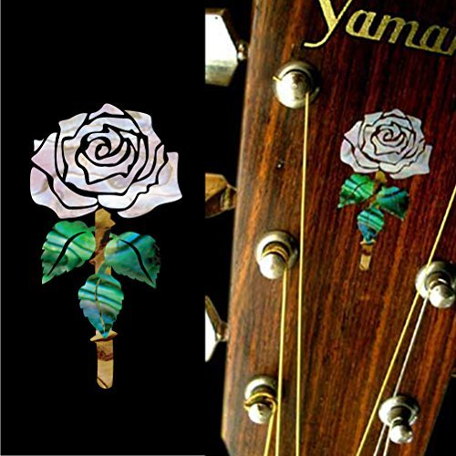 Inlay Sticker Decal Guitar Headstock In Abalone Theme - Rosanne Cash Rose (Guitar Headstock Decal)