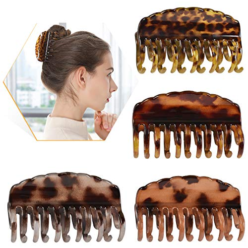 Gluytly Big Hair Claw Clips 3.5in ,Large Claw Clip,Hair claw Leopard Print Large Double Row Teeth Design Hair Clips Non-Slip Ponytail Holder for Women & Girls Strong Hold Hair Clips Catch Barrette for Thick/Thin Hair(4 PCS)