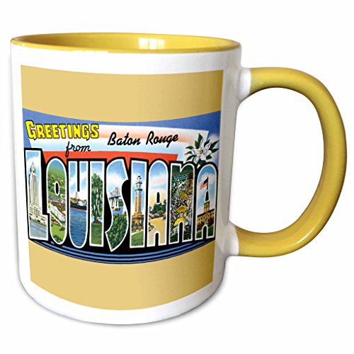 3dRose BLN Vintage US Cities and States Postcard Designs - Greetings from Baton Rouge Louisiana Scenic Postcard - 11oz Two-Tone Yellow Mug - Baton Rouge Outlets