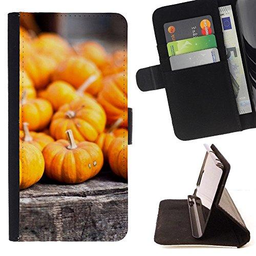 God Garden - FOR Apple Iphone 6 - Pumpkins Orange - Glitter Teal Purple Sparkling Watercolor Personalized Design Custom Style PU Leather Case Wallet Fli
