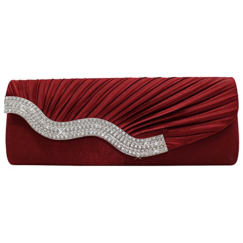 Handbag Purse Clutch Hand Burgundy Black Shoulder Satin Wedding Bag Party Crystal Evening Cckuu 0xwYIqzg7