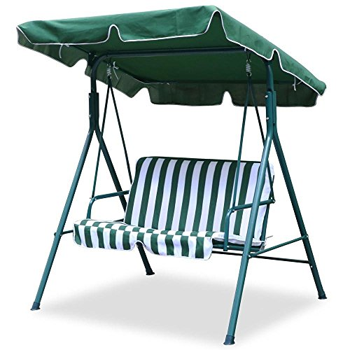 World Pride Garden/Backyard 2 Seater Cushioned Patio Swing,With UV Protected Canopy, Max load:440lb,White/Green stripe