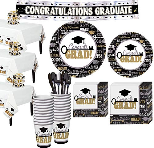 Party City Key to Success Graduation Mega Tableware Kit and Supplies, Includes Table Covers, Centerpiece, -