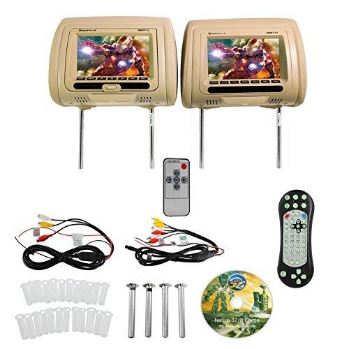 "- Rockville RDP711-BG 7"" Beige Car Headrest Monitors w/DVD Player/USB/HDMI+Games"