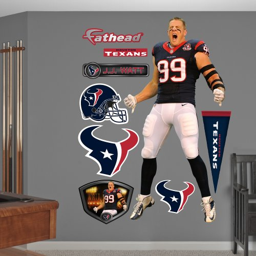 Fathead NFL Houston Texans J.J. Watt: Entrance - Life-Size Officially Licensed NFL Removable Wall Decal