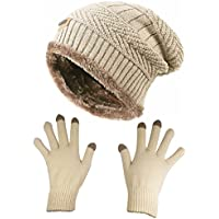 HINDAWI Slouchy Beanie Gloves for Women Winter Hat Knit Warm Snow Skull Cap Touch Screen Mittens
