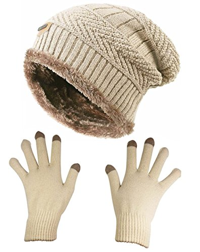 Slouchy Beanie Gloves for Women HINDAWI Winter Hat Knit Warm Skull Cap Touch Screen Mittens ()