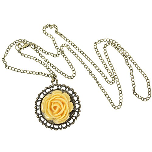 niceeshop(TM) Vintage Unique Bronze Classic Flower Style Long Necklace+With Accessory Cable Tie