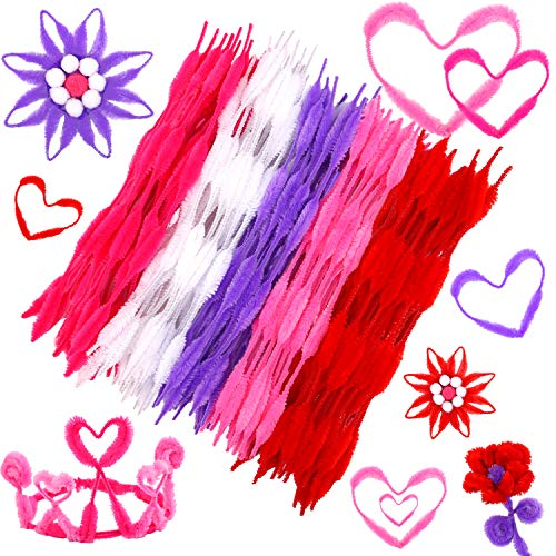 Cooraby 250 Pieces Valentines Pipe Cleaners Chenille Stems Valentine