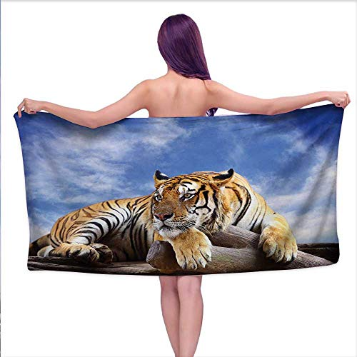 "haommhome Safari Soft Luxury Bath Sheet Set Tiger Sitting on Wood Clear Blue Sky Wildlife Morning Stripes Predator Print Bath Towel 3D Digital Printing Set W 20"" x L 39"" Blue Mustard Black"