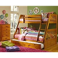 Cambridge Stanford Bunk in Honey Pine Children's Bed Frames, Twin over Full