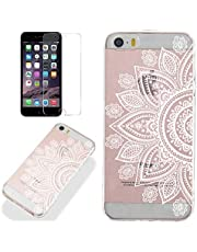 Clear Case for iPhone 5/5S iPhone SE 2016 with Screen Protector,QFFUN Ultra Thin Slim Fit Soft Transparent Silicone Phone Case Crystal TPU Bumper Shell Scratch Resistant Protective Cover - Sunflower