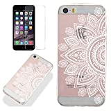 Clear Case for iphone 5/5S iphone SE with Screen Protector,QFFUN Ultra Thin Slim Fit Soft Transparent Silicone Phone Case Crystal TPU Bumper Shell Shockproof Scratch Resistant Protective Cover - Sunflower