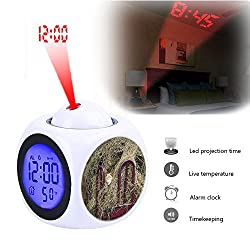 Projection Alarm Clock Wake Up Bedroom with Data and Temperature Display Talking Function, LED Wall/Ceiling Projection,Customize the pattern-055.cat hay farm cute pet animal domestic portrait