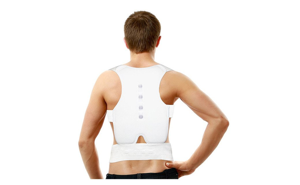 PU Health Pure Acoustics White Therapeutic Posture Correcting Back and Shoulder Support Brace