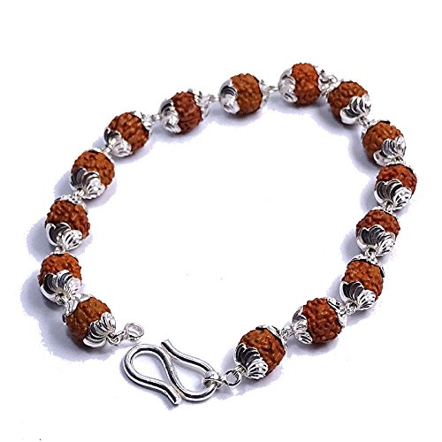 f09b84fdbca Buy Sahiba Gems Rudraksha with 925 Sterling Silver Flower Caps Adjustable  Bracelet for Unisex Online at Low Prices in India | Amazon Jewellery Store  ...