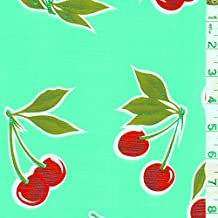 Seafoam Cherry Oilcloth, Fabric By the Yard