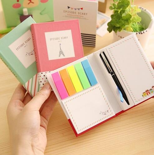 Creative Hardcover Memo Pad Post It Notepad Sticky Notes Kawaii Stationery Diary Notebook Office School Supplies + Pen