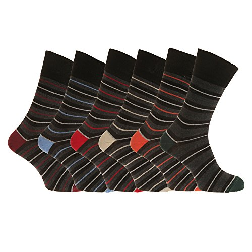 Aler Mens Non Elastic Thin Multi-Stripe Socks (6 Pairs) (7-12 US) (Black/Grey/Multi)
