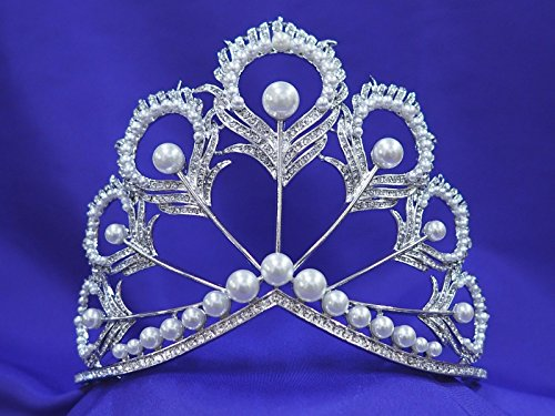 Miss Universe Pageant Rhinestone Crystal Pearl Tiara Crown Replica -