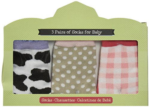 Baby Aspen, Barnyard Booties Farm Fun 3 Pair of Socks Gift Set, 0-6 Months