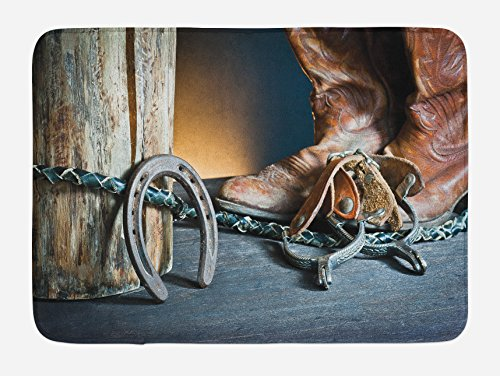 Lunarable Western Bath Mat, Dated Vintage Horseshoe Whip Spurs Rustic Texas Lifestyle USA Culture Design Print, Plush Bathroom Decor Mat with Non Slip Backing, 29.5 W X 17.5 L Inches, ()