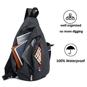 Magictodoor Sling Bag Travel Backpack Wear Over Shoulder or Crossbody Chest Bag Black