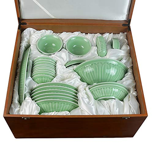 52Pcs Porcelain Dinnerware Set - Chinese Celadon High-Grade Wooden Gift Box, Plate, Soup Bowl, Dish, Spoon, Ceramic Tableware For 10 People,Celadon-B (Plate Celadon Porcelain)